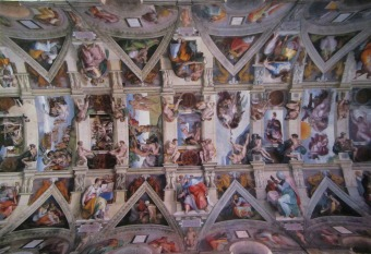 The Postcard with a pic of the ceiling in the Sistine Chapel